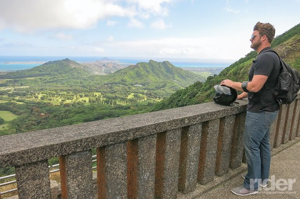 The author's son gets his first look at the windward side of the island.
