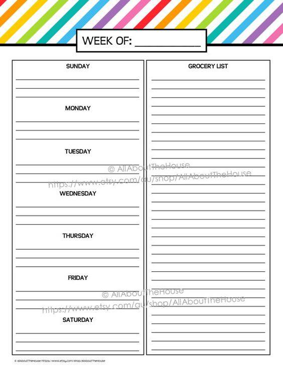 Weekly Meal Planner Printable Rainbow Stripe Menu Planner PDF ...
