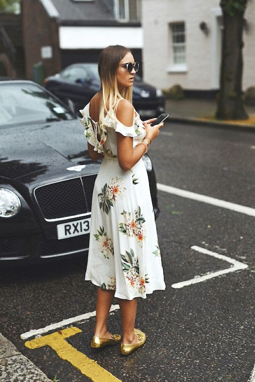 Le Fashion Blog Blogger Style Ombre Hair Sunglasses Topshop Ruffled Cold Shoulder Floral Print Dress Stacked Bracelets Metallic Gold Flats Via Nina Suess