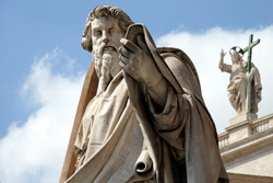 Conversion of Saint Paul - Statue on St. Peter's Basilica, Rome, Italy