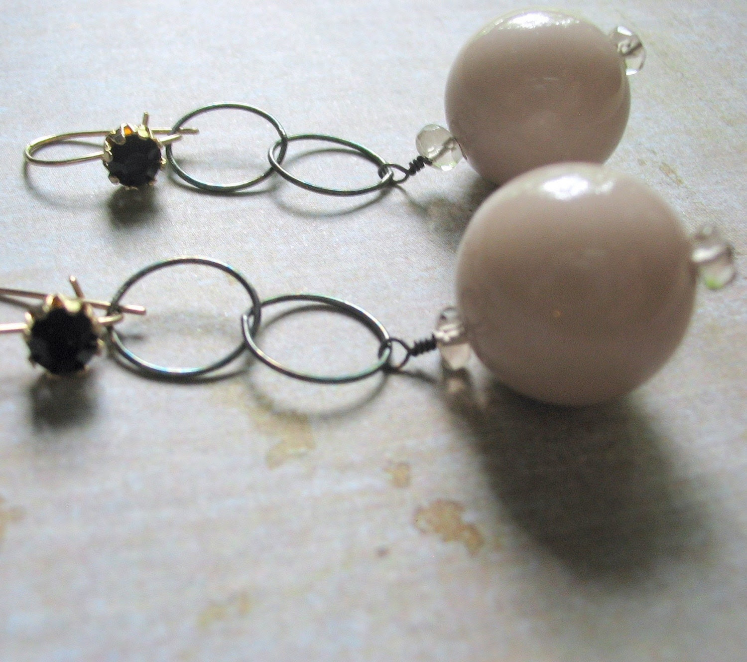 Lonesome Dove Earrings- Vintage Lucite with Darkened Silver