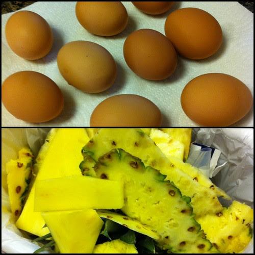 Hardboiled Eggs / Carving Pineapple