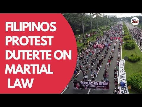 'End state fascism!' | Filipinos protest Duterte on martial law declarat...
