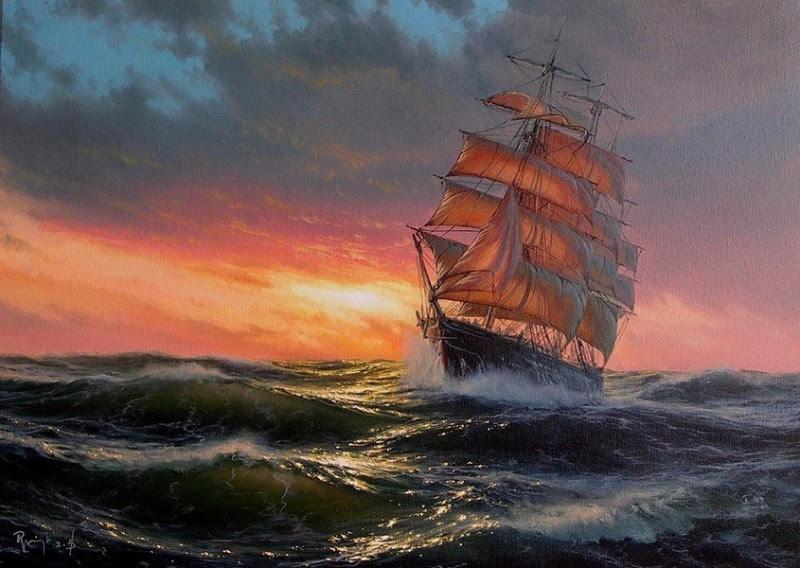 Wavy Sea By Marek Ruzyk, Oil Paintings