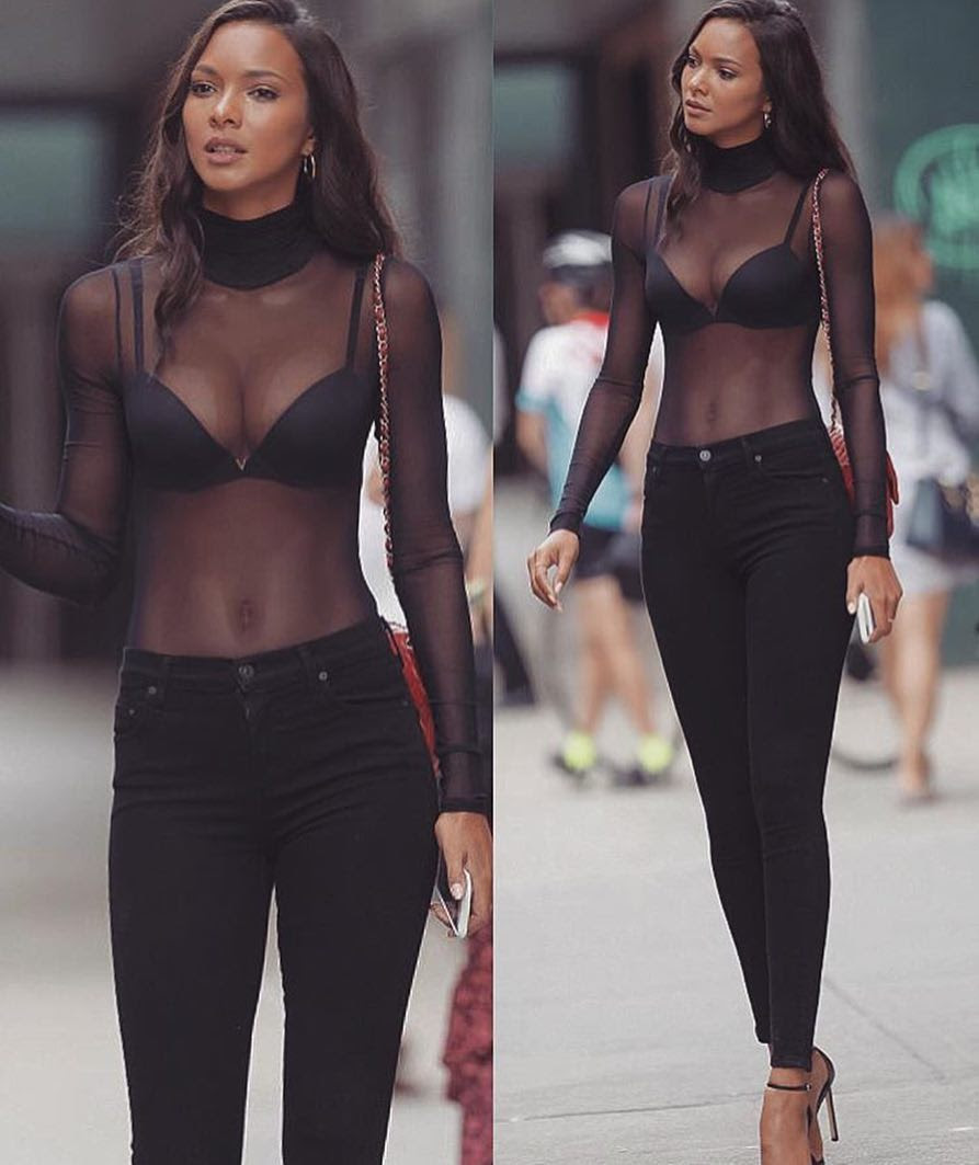 All Black Outfit Idea For Summer: Sheer Long Sleeve Top And Black