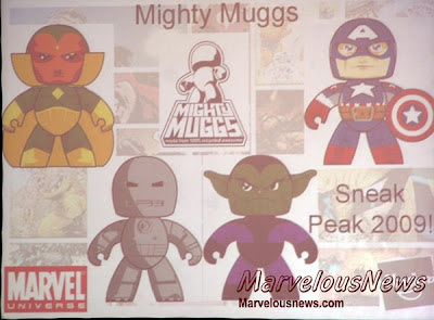 San Diego Comic-Con - 2009 Marvel Legends Mighty Muggs - Marvel Legends Wave 4 - Vision, Ultimate Captain America, Iron Man Version 1, Skrull