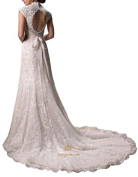 Lace Overlay Cap Sleeve Keyhole Back Mermaid Wedding Dress