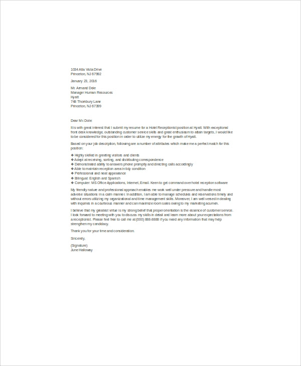 8 Cover Letter Receptionist Sample Templates