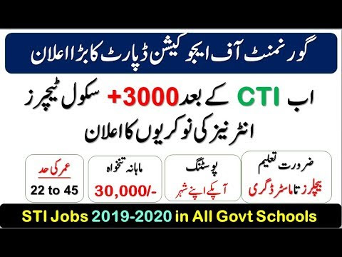 STI Jobs 2019-2020 | 3000 Vacancies of School Teaching Internees  in Govt Schools