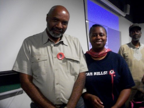 Abayomi Azikiwe, editor of the Pan-African News Wire, with former US Congresswoman and 2008 presidential candidate, Cynthia McKinney, at a Detroit public meeting on the US-NATO war against the North African state of Libya. The meeting was held August 27,. by Pan-African News Wire File Photos