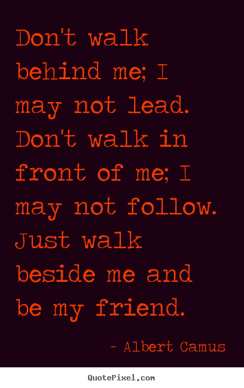 Dont Walk Behind Me I May Not Lead Dont Albert Camus Greatest