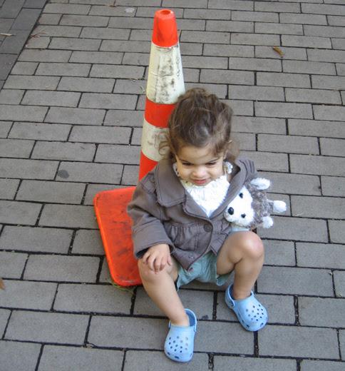waiting at a cone
