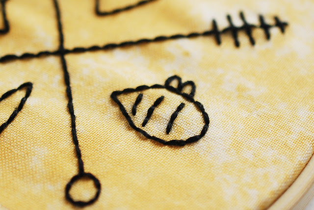 Hipster Honeybees free embroidery pattern
