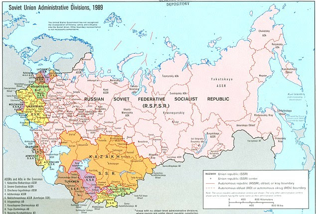Near collapse: Three years later, however, the USSR's borders had retreated