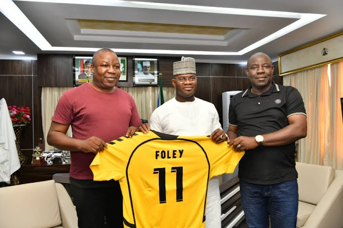 """Governor Yahaya Bello unveils Platini Sports Management's ace manager Folabi Ojekunle """"Foley"""" as new Kogi United technical adviser"""