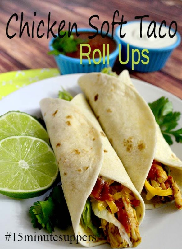 Chicken Soft Taco Roll Ups (a 15 minute meal!) from Pink Cake Plate