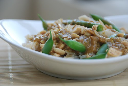 string beans and tofu in Thai peanut butter sauce