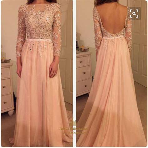 Blush Pink Illusion Sheer Lace Long Sleeve Backless Long