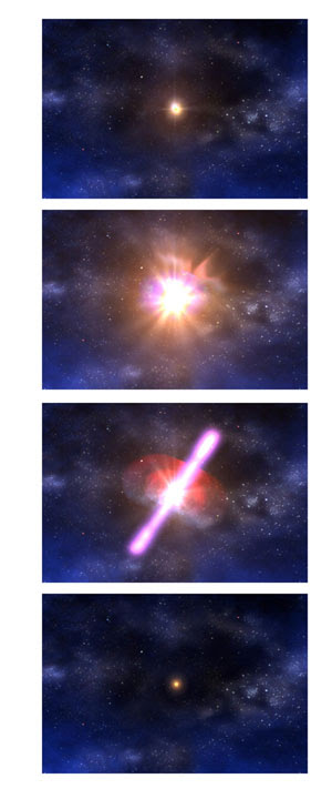 Filmstrip showing the neutron star collision from a distance.