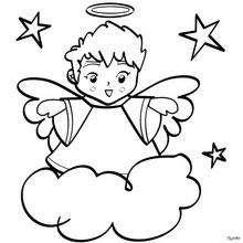 Dibujos Para Colorear ángel De Navidad Con Estrellas Eshellokidscom