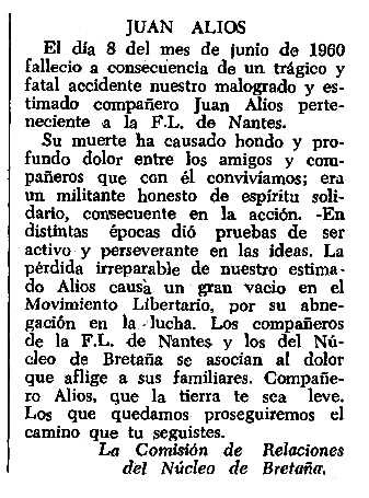 "Necrològia de Juan Alios apareguda en el periòdic tolosà ""CNT"" del 10 de juliol de 1960"