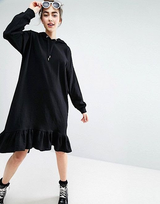 Le Fashion Blog Hooded Black Ruffle Hem Dress Monki Via Asos