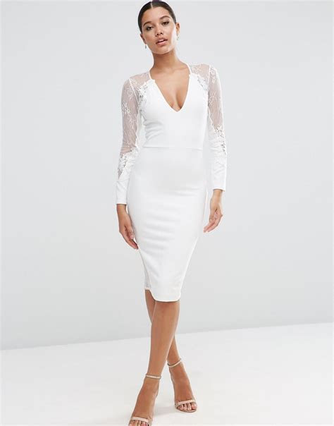 Asos Lace Applique Long Sleeve Midi Dress in White   Lyst