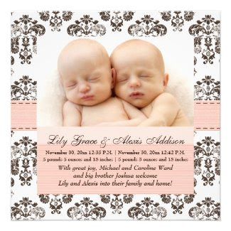 Twins Damask Baby Announcement Pink and Brown
