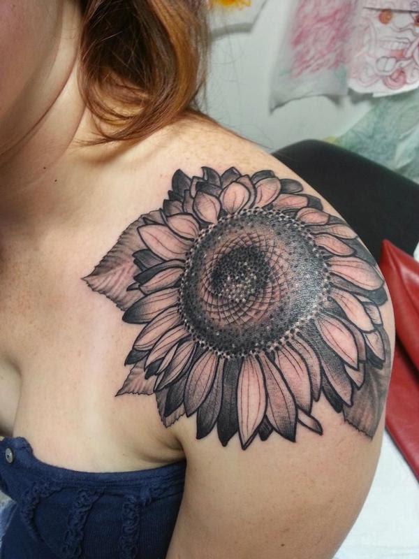 Left Shoulder Grey Ink Sunflower Tattoo