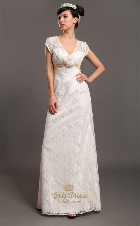 Ivory Lace V Neck Empire Waist Cap Sleeves Wedding Dresses