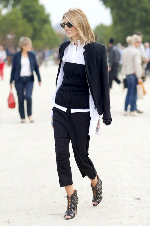 Le Fashion Blog Sarah Rutson Office Style Layered Look Black Blazer White Shirt Ribbed knit Tube Top Cropped Pants Lace Up Boots Via Popsugar