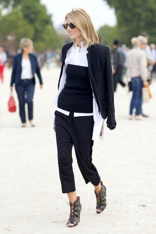 Le Fashion Blog Sarah Rutson Office Style Layered Look Black Blazer White Shirt Ribbed knit Tube Top Cropped Pants Lace Up Boots Via Popsugar