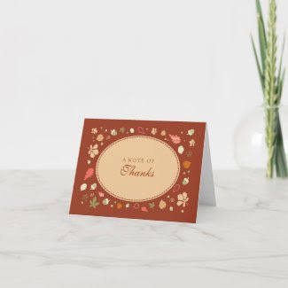 Elegant Oval Fall Leaves Thank You Card