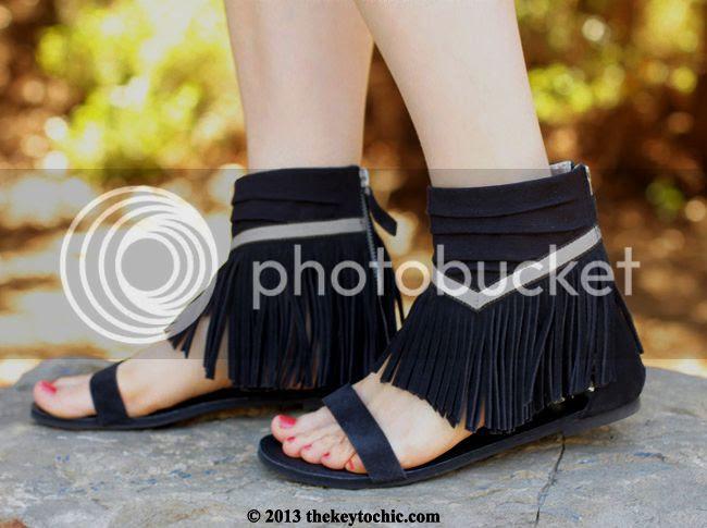 Koolaburra Zola black suede fringe sandals