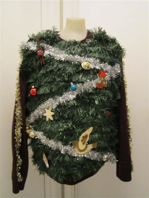Hilarious ugly christmas tree sweater tons of green garland
