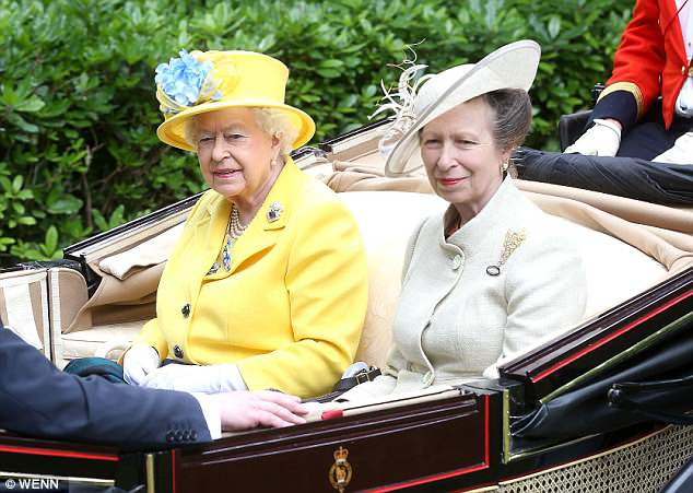 Proud grandmother: Just minutes after the news was announced, a 'delighted' Princess Anne joined the Queen at Royal Ascot in Berkshire