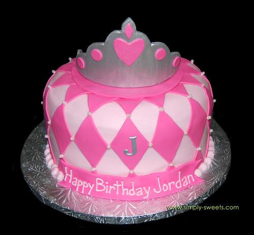 Pink tiara birthday cake with diamond pattern