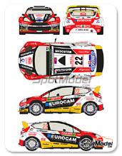 Calcas 1/24 Racing Decals 43 - Ford Fiesta RS WRC Eurocam - Nº 22 - j. Melicharek + E. Melicharek - Rally de Montecarlo 2014 para kit de Belkits BEL-003