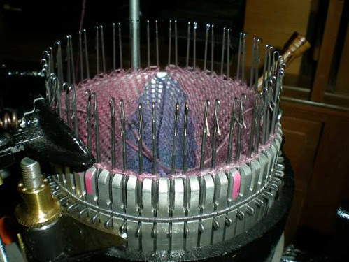 First Argyle Diamond on Sock Machine (as knitting view)