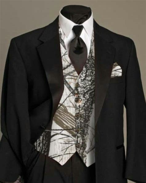 For the Groom. White camo vest, with a black dress shirt