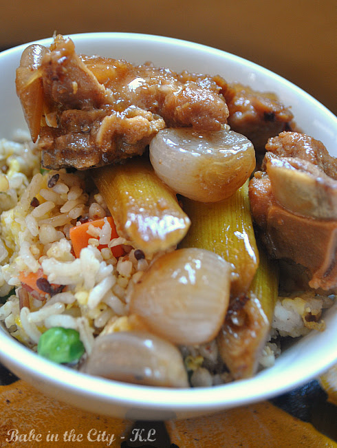Braised Pork Ribs with Leeks and Shallots served with Garlic and Ginger Fried Rice