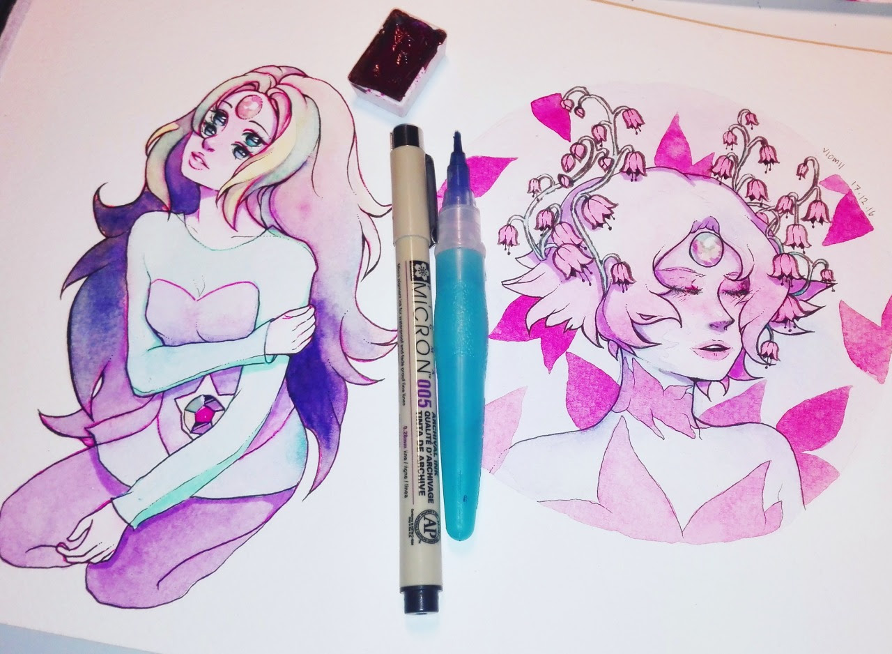 Rainbow Quartz and Pink Pearl. This is actually how I imagine Pearl when she belonged to pink diamond!