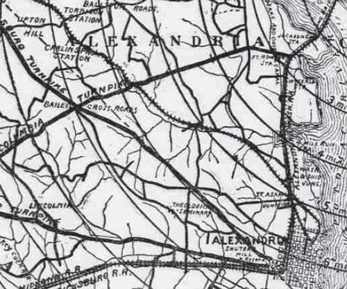 1896 Bicycle Map, Four Mile Run
