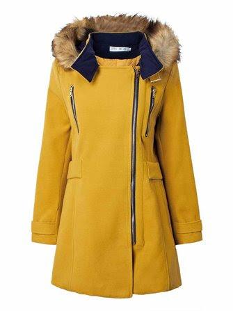 Women Detachable Fur Hooded Patchwork Double Zipper Woolen Coat