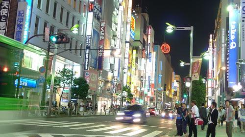 Cars passing by in Shinjuku