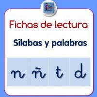 Fichas de lectura de sílabas y palabras con n, ñ, t, d