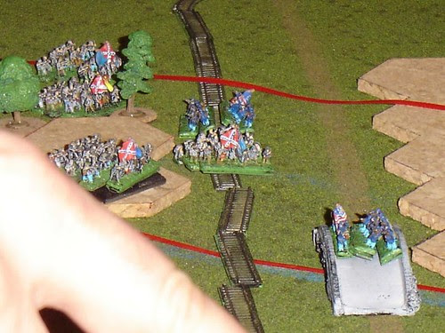 Fierce fighting over the railway cut and York Pike Bridge