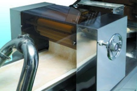 Automatic Layer & Stuffed Paratha Production Line - Place dough into the hopper. Special designed reverses rollers to sheet dough into a thin dough belt.It does not need a dough sheeter, so it saves time, space and does not destroy the texture of dough.