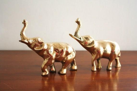 Vintage pair of brass elephants