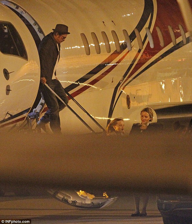 Incident: Pitt is reportedly got 'vocally abusive and physical' with his children' on a private jet last Wednesday. He is pictured climbing off a jet in 2014